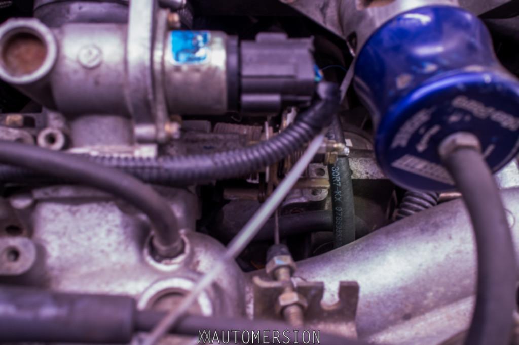 coolant hose in subaru engine bay